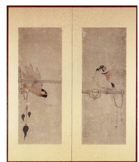 串本応挙芦雪館 花鳥画:長沢芦雪筆:紙本着色「鸚鵡図」