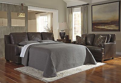 Futons Frames and Covers 131579: Ashley 6910339 Corvan Antique Brown Leather Match Queen Sofa Sleeper -> BUY IT NOW ONLY: $1176.57 on eBay!