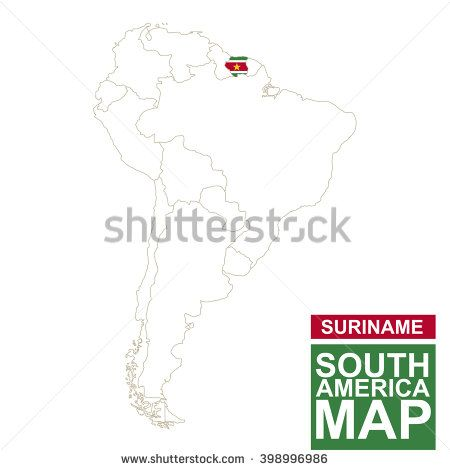 South America contoured map with highlighted Suriname. Suriname map and flag on South America map. Vector Illustration.