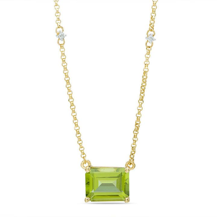 Zales Emerald-Cut Peridot and Diamond Accent Necklace in 10K Gold