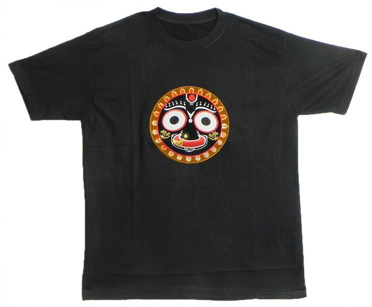 Embroidered Jagannathdev Face on Black T-Shirt (Cotton)