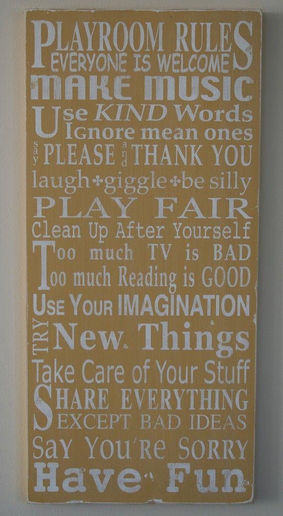 playroom rulesIdeas, Playrooms Rules, Subway Art, Play Rooms, Kids Room, Art Room, Plays Room, The Rules, Playrooms Art
