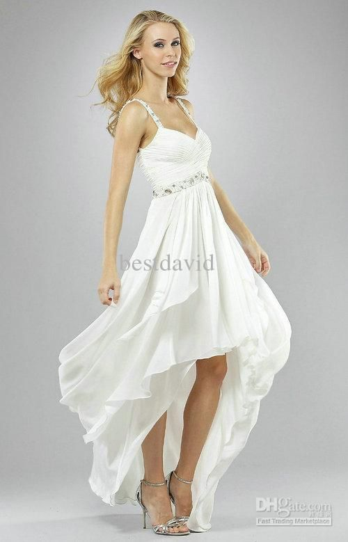 Short Front Long Back Beach Wedding Dresses 2013 V-Neck Chiffon Beaded Strap Ruched Gown Full-Length