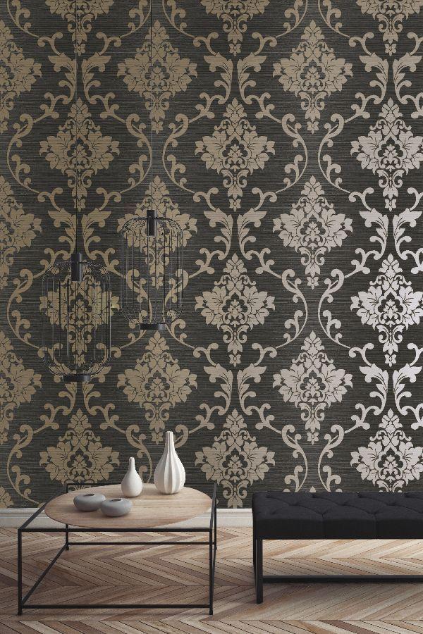 Kaluna Damask By Albany Black Gold Wallpaper Wallpaper Direct Damask Wallpaper Bedroom Damask Wallpaper Wallpaper Bedroom