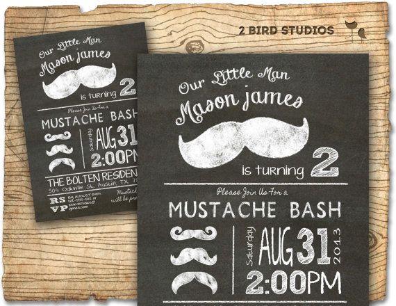 Mustache bash mustache birthday party invitation - mustache invitation - DIY printable little man chalkboard mustache invite