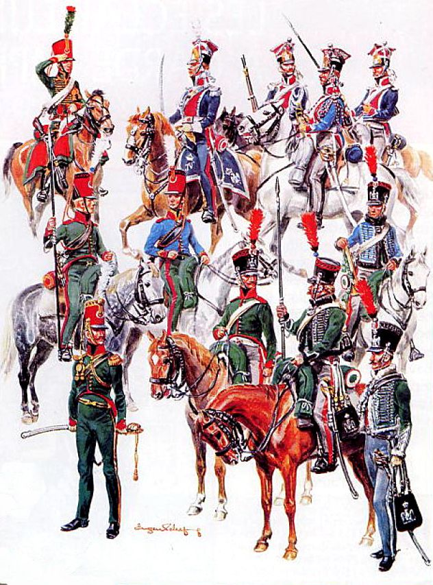 All Scout Regiments of the Imperial Guard. The 1st regiment was divided into the Old Guard and Young Guard squadrons, with the first two wearing uniforms of the hussars, also sometimes known as Hussards Éclaireurs, and the others wearing a coatee similar to the Chasseurs a Cheval.