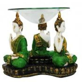 Buddha tea light holder and oil burner.  The holder is green and ivory and comes with a glass plate.   About the Holder:-   Colour:-   Green & Ivory Size:-   Height - 120mm  x  Width - 140mm Symbol:-   Mediation, Peace