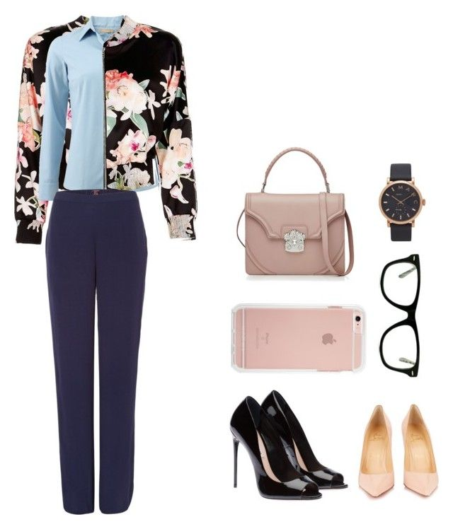 """""""Preppy blue and floral"""" by ivanaputri on Polyvore featuring Marciano, Michael Kors, Princesse tam.tam, Christian Louboutin, Muse, Alexander McQueen and Marc Jacobs"""