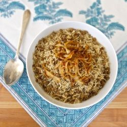 Mujadara - fluffy basmati rice and lentils topped with caramelized onions.