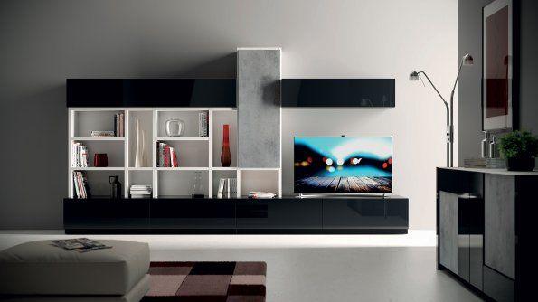 mobili living in nero lucido