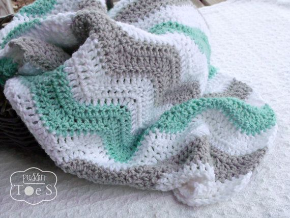 Mint Baby Blanket Crochet Baby Blanket Mint and Gray by puddintoes   I need this!!