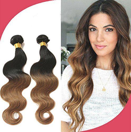 Meilleures ventes! Tissage Bresiliens Ondules Body Waves-Cheveux Vierges 18»20»22» Longueur Mixte 3 Bundles 300grammes, Couleur#1b/30:…