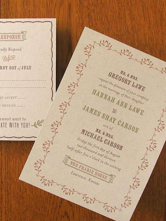 Prairie Wedding Invitations and Response cards with Envelopes