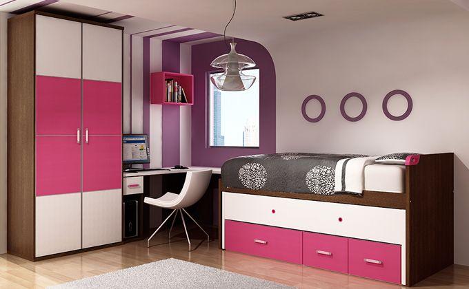Muebles habitaci n de ni a lila cama nido para dormitorio - Habitaciones pequenas para ninas ...