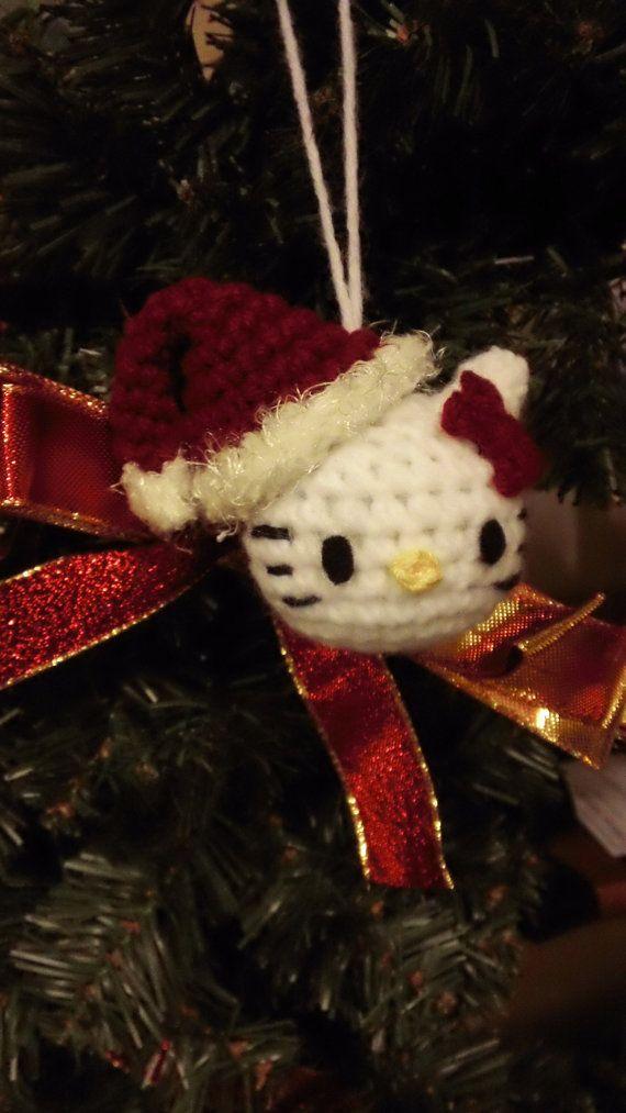 Hello Kitty Inspired Christmas Ornament Crochet by HeyHeaHandmades, $10.00