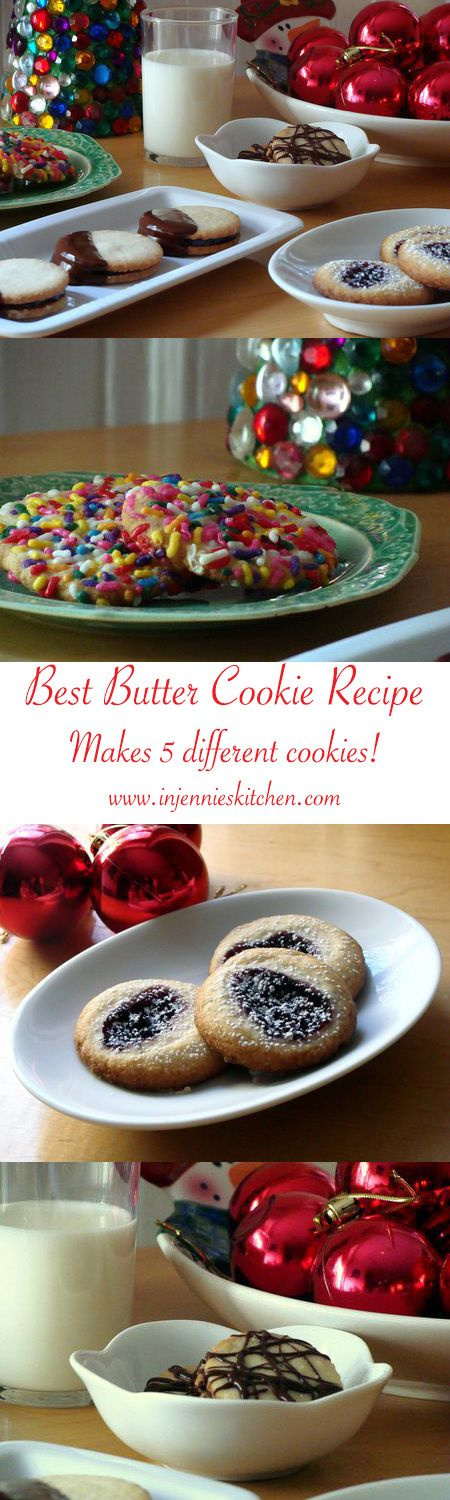 One Butter Cookie Dough, infinite possibilities. Make this recipe for butter cookies into chocolate dipped sandwich cookies, sprinkle covered cookies, jam thumbprint cookies, or spritz cookies. Get the recipe at In Jennie's Kitchen for the best Christmas butter cookies ever.
