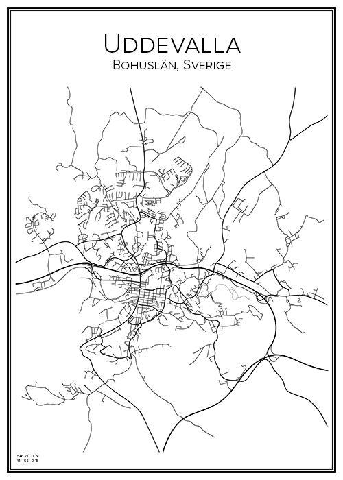 Handritad affisch över Uddevalla i Västra Götalands län. Här kan du beställa stadskarta över din stad och andra svenska samt utländska städer.