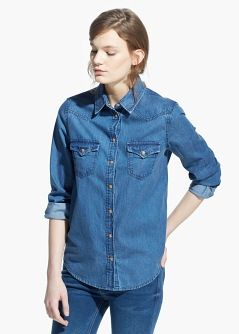 Dark denim shirt--not sold on the pockets, but have been thinking about a denim shirt