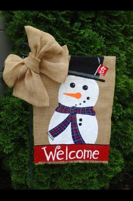 Burlap Garden Flag - Christmas Snowman