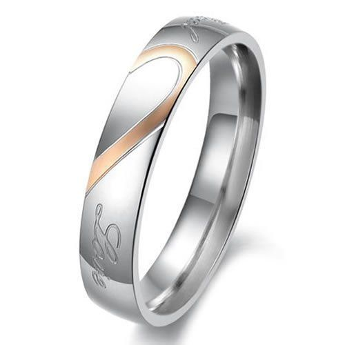 """KONOV Jewelry Lover's Mens Ladies Heart Shape Titanium Stainless Steel Promise Ring """"Real Love"""" Couples Engagement Wedding Bands for her - Women - Size 7 - Why choose Stainless Steel Jewelry?Stainless Steel jewelry does not tarnish and oxidize, which"""