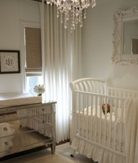 elegant baby room- love the mirror dresser/changing table