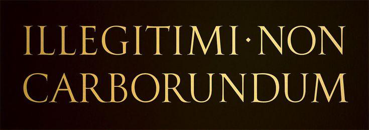 "The aphorism ""illegitimi non carborundum."" is mock-Latin for ""don't let the bastards grind you down."""