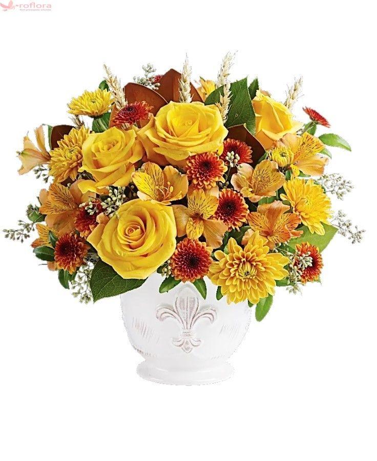 Cauti un buchet cochet? Ce zici de acest buchet in culorile traditionale ale toamnei, prezentate de trandafirii eleganti, alstroemeria joviala si crizantemele jucause?Acest buchet luxuriant contine 4 trandafiri galbeni, 3 alstroemeria galbena, 4 crizanteme galbene, crizanteme portocalii si putina verdeata.Produsul poate fi insotit de un mesaj. Acest serviciu Roflora este gratuit.Buchetul este pregatit manual de un florar local si poate arata usor diferit fata de imaginea prezentata datorita…