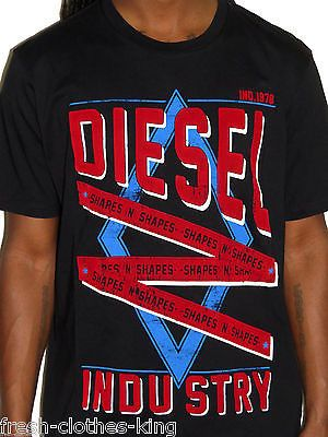 Diesel Shirt New $58 Mens Industry Shapes Black Crew Neck Tee Choose Size
