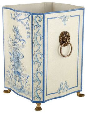 Ivory and Blue Tole - Painted Bin | Containers | Wisteria asian waste baskets
