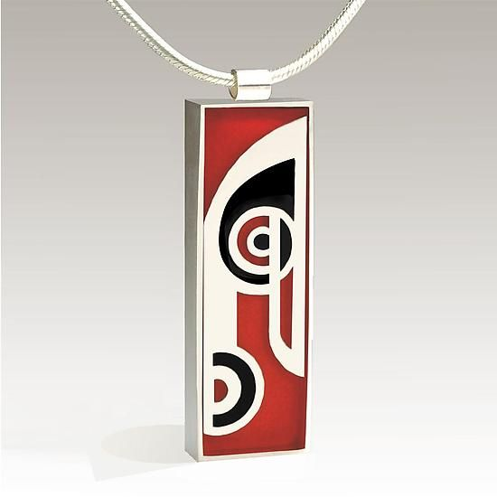 Rectangular Musical Note Pendant by Victoria Varga: Silver & Resin Necklace available at www.artfulhome.com