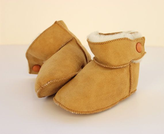"Baby booties ""First Steps"" crochet boot-slippers made with sheep skin suede leather and soft fur"