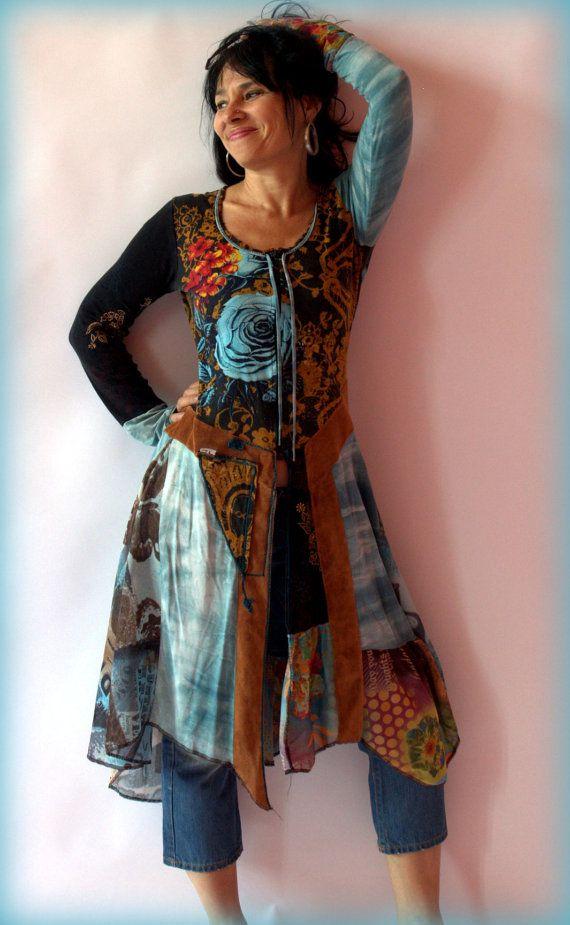 Blau rosa Fantasie Kleid Tunika von jamfashion auf Etsy