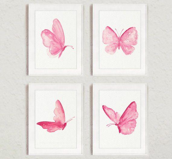 Papillons ensemble peinture 4 Art impressions Shabby Chic décor abstrait papillon aquarelle rose filles pépinière Room Decor, affiche de murale princesse