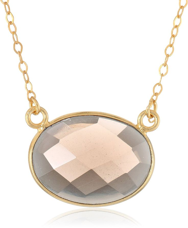 Gold-Plated Sterling Silver Medium Oval Gemstone Bezel Pendant Necklace, 16' 2' Extender * Continue to the product at the image link. (This is an Amazon Affiliate link and I receive a commission for the sales)