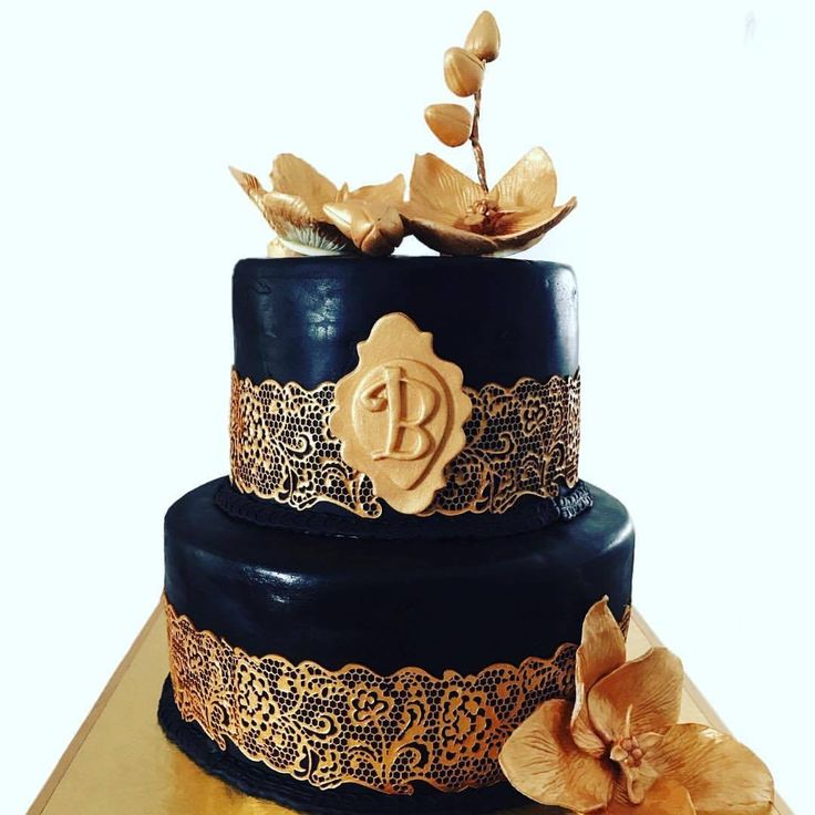 Black and Gold 50th birthday cake with edible gold cake lace