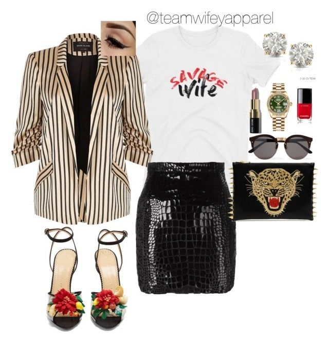 """Team Wifey Apparel  graphic tee"" by teamwifeyapparel on Polyvore featuring Charlotte Olympia, River Island, Yves Saint Laurent, Illesteva, Auriya, Chanel, Rolex and Bobbi Brown Cosmetics"