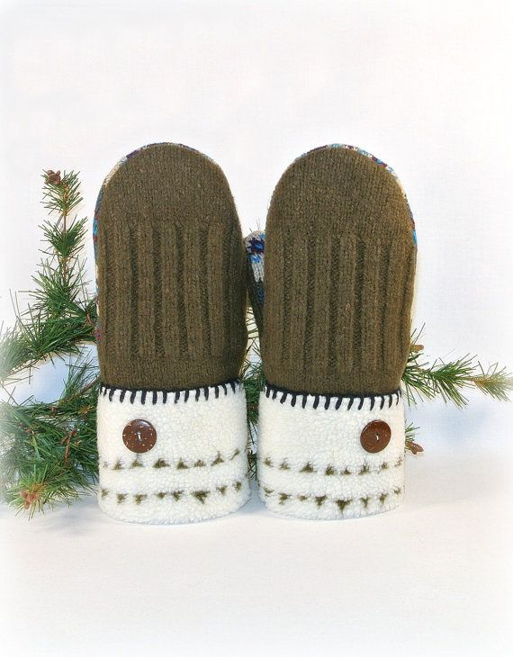 Olive Green and White Hand-Crafted Women's Recycled Wool Sweater Mittens ❄ ❅ ❄ ❅ ❄ ❅ ❄ ❅ ❄ ❅ ❄ ❅ ❄ ❅ ❄ ❅ ❄ ❅ ❄ ❅ ❄ ❅ ❄ ❅ ❄ ❅ The sweaters used