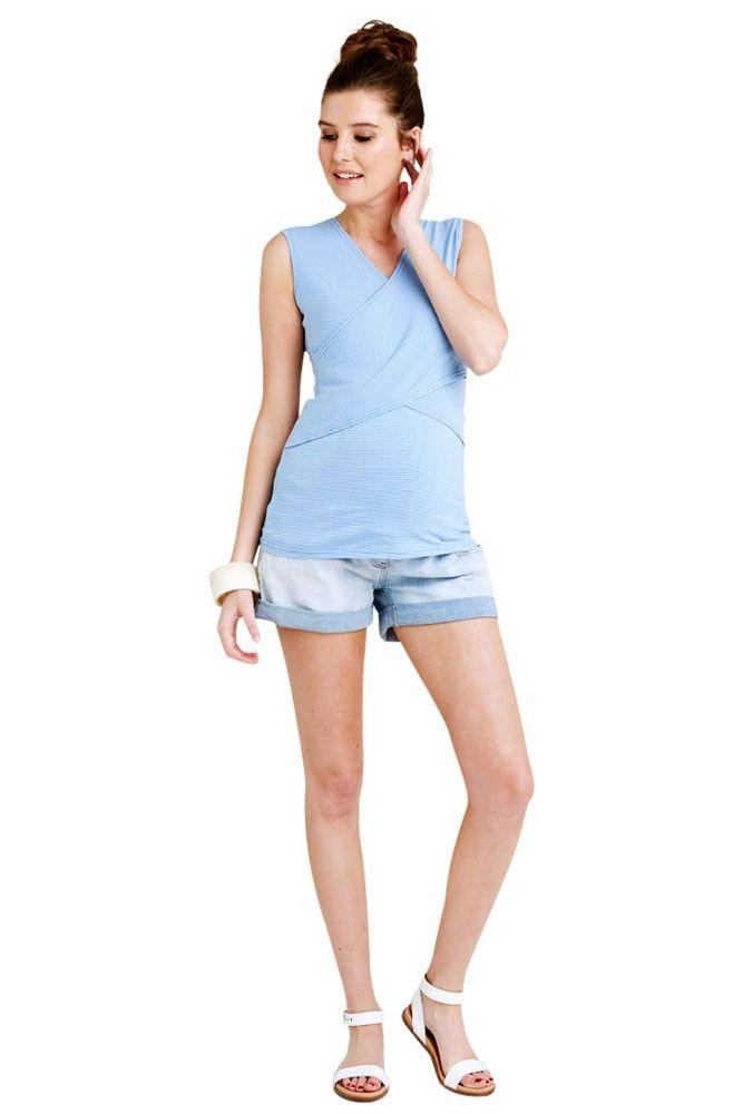47951173077 Embrace Sleeveless Cross Front Maternity   Nursing Tank in Mini Blue    White Stripes by Ripe Maternity