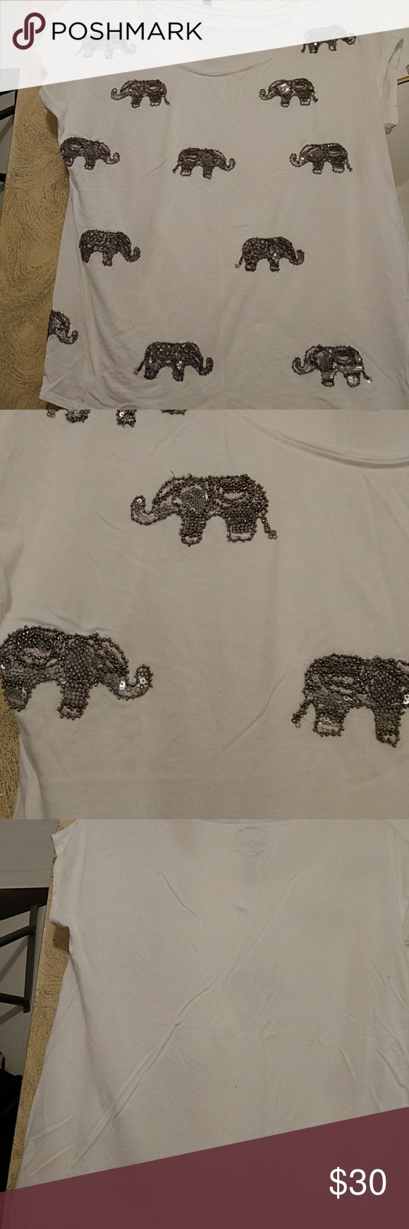 Elephant sequin shirt This is a gray elephant sequin shirt definitely a statement maker only worn a few times INC International Concepts Tops