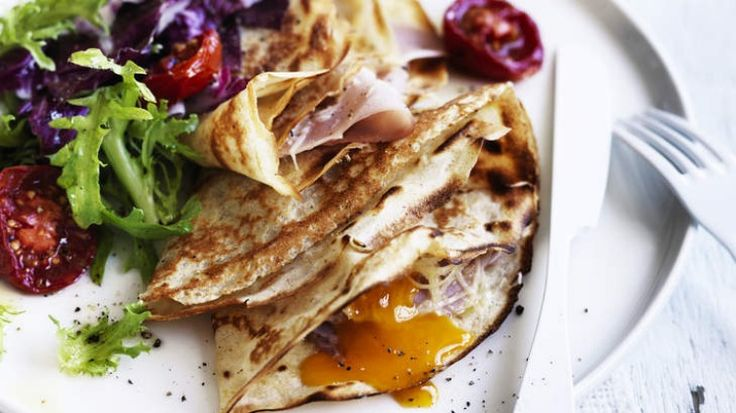 Egg, ham and gruyere buckwheat crepes