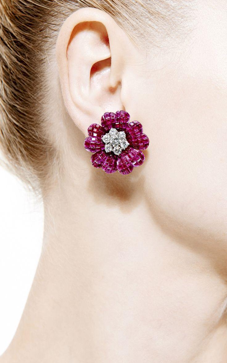Vintage Van Cleef & Arpels Ruby and Diamond Earrings by Simon Teakle - Moda Operandi