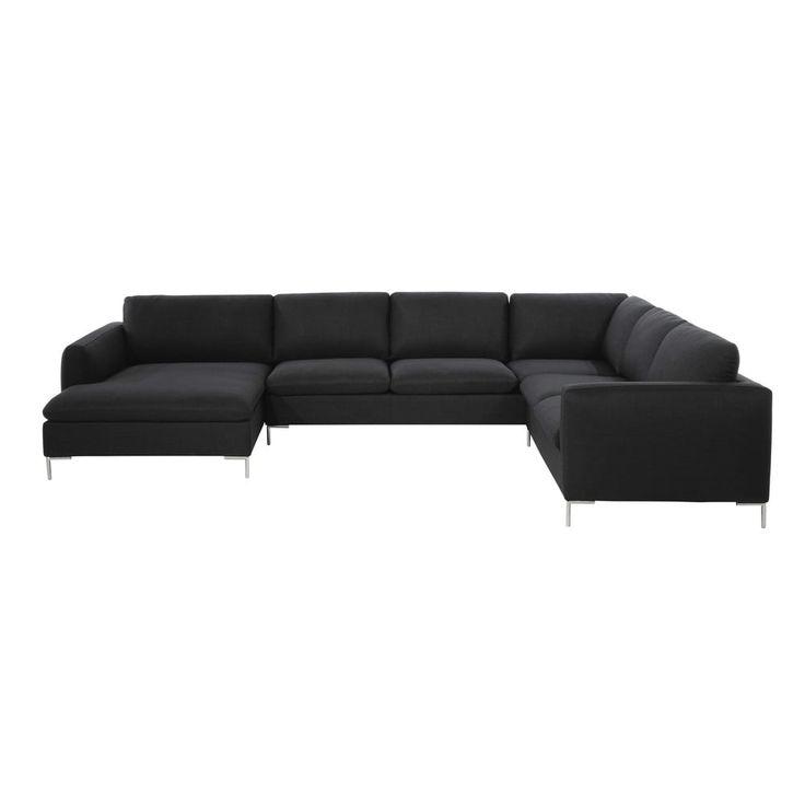 8 seater fabric corner sofa in charcoal grey