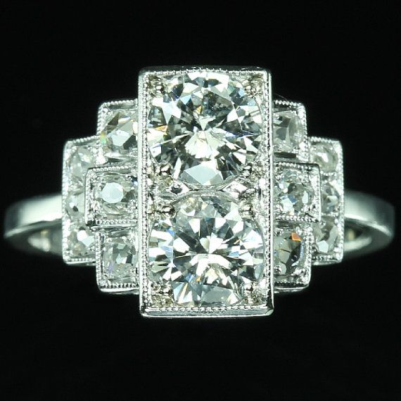Reserved for Debbie - French Art Deco diamond engagement ring 18K white gold ref.13318-0034