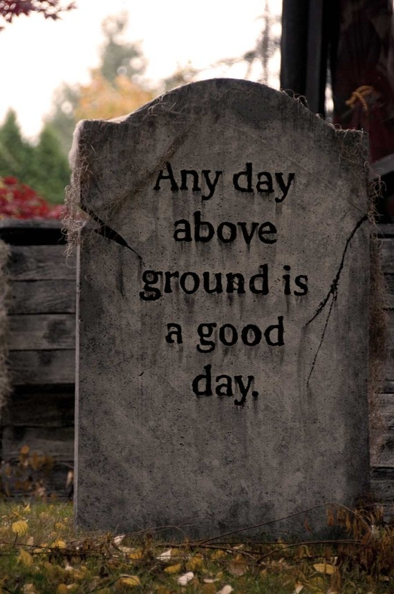 any day above ground is a good day epitaph halloween graveyardhalloween decorationshalloween craftsgrave markerscemetery - Cemetery Halloween Decorations