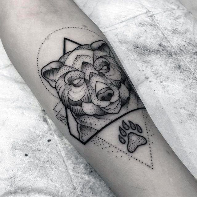 Geometric Bear Claw Dotwork Design Tattoo On Mans Forearm