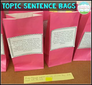 I put one paragraph each on a paper bag and put them around the room. In partners, the students rotated around the room, writing one of each type of topic sentence (as seen above). Then, they put it into the bag. So at the end, we had TONS of topic sentences in the bags, and the best part of it was that they were all unique! We pulled several from each bag to read and discuss. Nobody saw other people's sentences until the end when we pulled them out, so they weren't inspired by others.