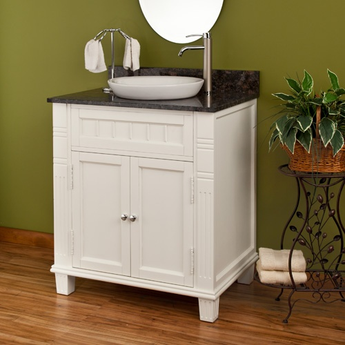 Powder room vanity with vessel sink new home ideas for Powder bathroom vanities
