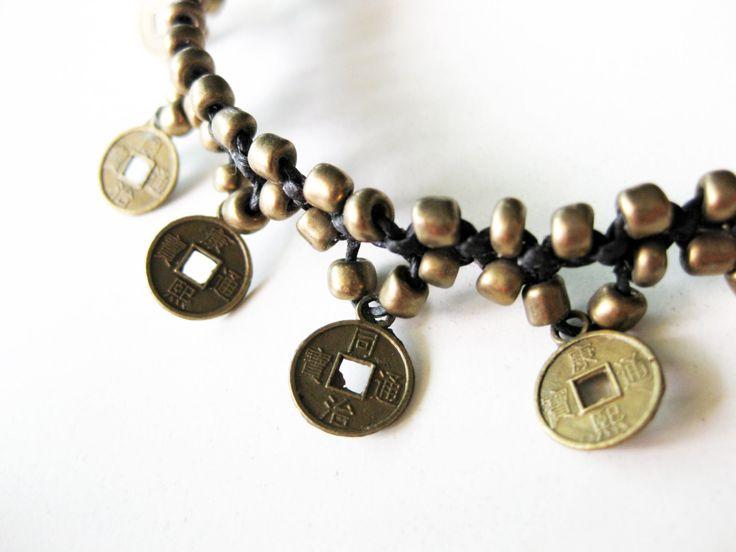 Boho Brass Coins Macrame Anklet, Adjustable Size, Wax String Handmade Anklets, Thailand Jewelry. (JA1010)