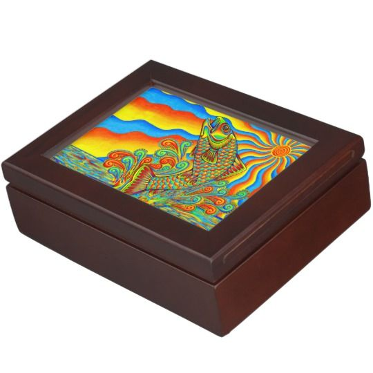 "Psychedelic Rainbow Trout Fish colorful keepsake box by Rebecca Wang on Zazzle.  These beautiful keepsake boxes are made from mahogany-colored wood and the interior is lined with black velvet fabric.  The design is printed in full color on both sides of the lid.  Measures 6.5"" x 8.5"" x 2.75"".  Perfect for jewelry, watches, photos or other trinkets!"