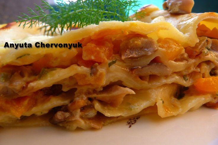 Lasaña con calabaza y setas. – Тыквенно-грибная лазанья. | Anyutacocinera's Blog
